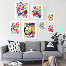 Canvas Painting Modern Cartoon Animals Colorful World Art Wall Print Picture Poster Children Bedroom Decor No Frame Art Painting(China)