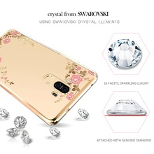 KAVARO Capa for Huawei Mate 9 Case Floret Swarovski Crystal Diamond Plated PC Hard Case for Huawei Mate 9 Cover Flower Coque