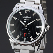50pcs/lot winner-D60 Top Selling round dial winner mechanical watch hollow out casual calendar watch stainless steel watch(China)