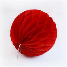 "12pcs 6"" Red Paper Decorative Tissue Paper Honeycomb Balls Pastel Flower Birthday Baby Shower Wedding Holiday Party Decorations(China)"