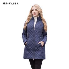 MS VASSA Women Jacket 2017 Autumn Winter New fashion Parkas Padded ladies coats long quilted jackets plus size 6XL 7XL outerwear(China)