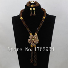 New Champagen Crystal Beads African Wedding Jewelry Set Ball bead pend Necklace Jewelry Sets Free Shipping C000985(China)