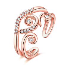 JEXXI Bijoux Fashion Two Colors Cubic Zircon Crystal Ring Rose Gold color Women Costume Jewelry Rings