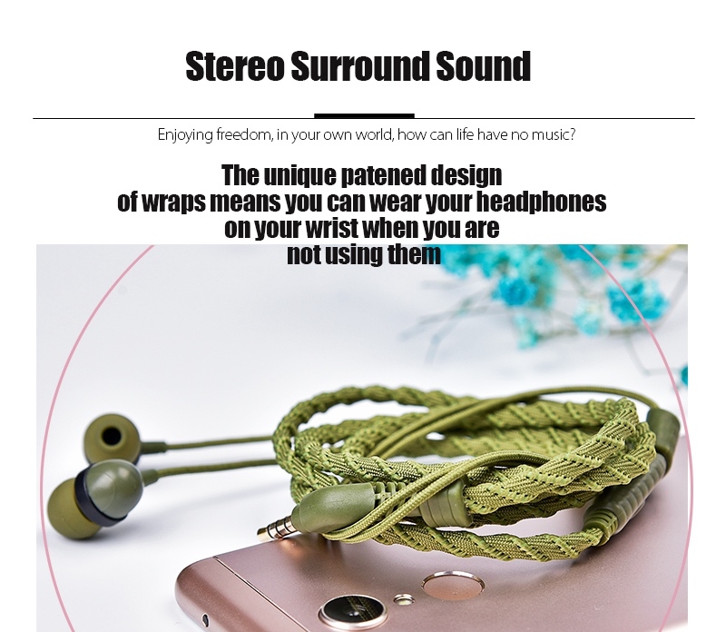 Artisome Wired Bracelet Earphone With Microphone 3.5mm Fabric Braided Earphone For Phone Headphones For iPhone Adroid (8)