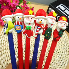 5pcs/lot Christmas Theme Ballpoint Pen , Polymer Clay Santa Claus & Snowman Ball Pen as Office School Writing Supplies