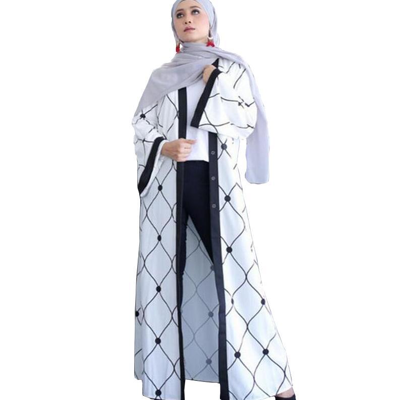 2017 модная новинка черно-белой строчкой цифровая печать высокого класса мусульманской халаты Исламская одежда платье A417(China)