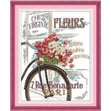 1th цветы и велосипед Вышивка Крестом Картины Счетный крест 11ct 14ct вышивки крестом оптовая продажа Крестик Комплект Вышивка needlewor(China)