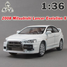 Kinsmart 2008 Mitsubishi Lancer Evolution X Car 1:36 5Inch Diecast Metal Alloy Cars Toy Pull Back Car Gift For Boy Kids