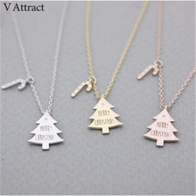 V Attract Personalized Jewelry Stainless Steel Christmas Trees Charm Necklace Gold Silver Adjustable Chain Statement Necklace(China)