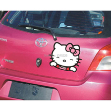 Car styling Funny Hello Kitty Car Stickers Decal for Toyota Ford Chevrolet Volkswagen Polo Golf Tesla Honda Hyundai Kia Lada(China)
