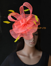 NEW Coral pink yellow Wedding fascinator kentucky derby hat with sinamay loops&feathers for Races.