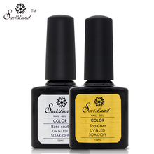Saviland 2pcs Primer Base Coat No Cleaning Non Cleansing Top Coat For Soak Off Uv Nail Gel Polish Glue Long Lasting Lacquer
