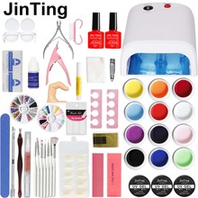 36W LAMP 12 Color UV GEL + clear Nail brushes False Finger Cutter Nail Art Tool Kit Sets for beginners(China)