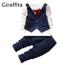 Fashion Party Wedding Baby Boys Girls Children's Tie Dress Stripe Tops Plaid Pants Clothing Sets(China)