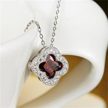 New Pink White Purple Red CZ Pendant Clover Necklaces Austria Crystal Flower Necklace For Women Jewelry Fashion
