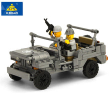 KAZI Military US Willys MB Jeep Airborne Force Building Blocks World War Classic Military Vehicle Model Compatible with Legoe