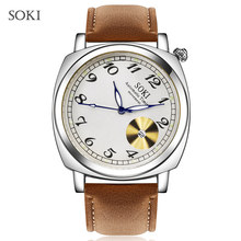 SOKI Waterproof 45 degrees Creative Quartz Watches Accurate Calendar Movement Watches Brown Strap Men's Fashion Casual Watches(China)