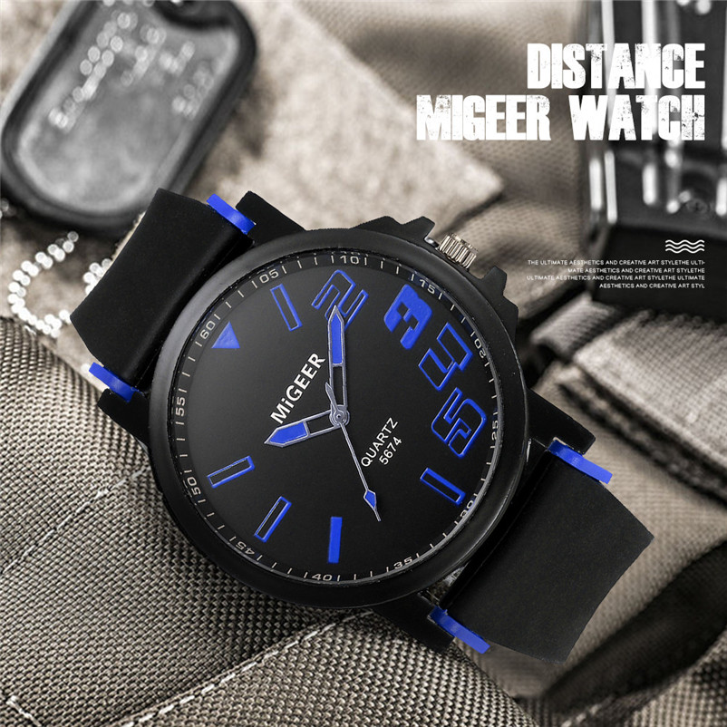 New Listing Saat Erkekler Men's Watch Casual Men Fashion Silicone strap Sport Cool Quartz Analog Hours Wrist Watch Clock 3M24 (9)