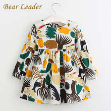 Bear Leader Girls Dress 2018 New Spring England Style Girls Clothes Long Sleeve Cartoon Forest Animals Graffiti for Kids Dresses(China)