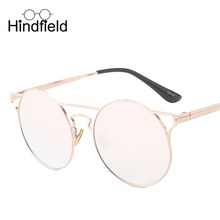 Hindfieid Brand Design Round Women Sunglasses Men Fashion Metal Frame Sun Glasses Leisure Activities Glasses Gafas de sol UV400(China)