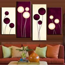 4 Pcs/Set Abstract Wall art Simple Purple White Circles Balloon Shape Painting Prints on Canvas Home Decoration
