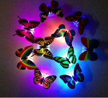 12pcs/lot Led Butterfly Night Light for Festival Decoration Fiber Optic Butterfly Light 7 Colors Flash