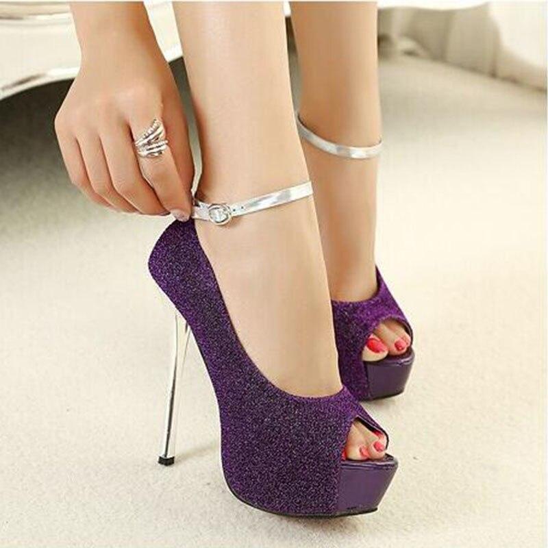 Purple Heels Women Open Toe High Heel Shoes 2017 Summer Ladies Pumps With Platform Peep Toe Thin Heel Ankle Buckle Free Shipping<br>