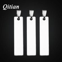 QITIAN 10pcs/lot Engraved Name Stainless Steel Stamping Blanks Dog Tags For DIY Making Silver-Color Tone Pendant Wholesale(China)
