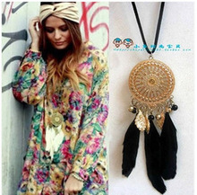 2015 Vintage Indian Long Chain Dreamcatcher Necklace With Black Feathers Pendant Bohemia Dream Catcher Charm Women Jewelry