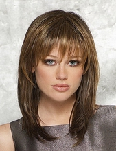 Hot Sale 14inch Latest Medium Length Hairstyles Heat Resistant Synthetic Straight Natural Womens Wigs With Bangs 2 Models