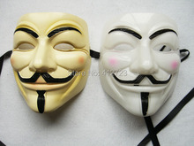 25pcs Cosplay Halloween Party Guy Fawkes V Vendetta Anonymous Adult Mask Fancy Dress PVC Face masquerade masks Costume Accessory