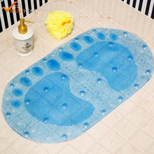 37x67cm Oval Footprints PVC Bath Mat Non Slip Shower Mats