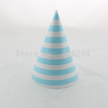 12pcs Holiday Wedding Carnival Birthday Light Blue Striped Paper Party Hats Bulk,Kids Stripe Party Caps Baby Shower Decorations