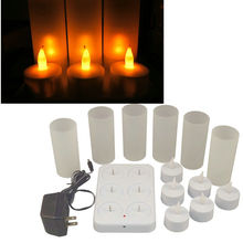 Set of 6 Frosted Rechargeable Flameless Led Tea Light Candles w/Difused Votives lamp Xmas wedding party 110V/220V optional-AMBER