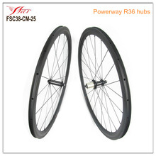 Japan Toray carbon wheels 700C 38mm x 25mm carbon road bike wheels 3K / UD , Farsports FSC38CM-25 with Powerway R36 hubs(China)
