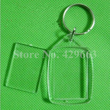 Free shipping 35pcs/lot Cuspate Shaped Transparent Blank Insert Photo Picture Frame Key Ring Split keychain