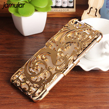 JAMULAR Artistic Carving Hollow Flower Plating Case For iphone 8 Plus 6 6s Plastic Cover for iphone 7 6 6s Plus Fundas(China)