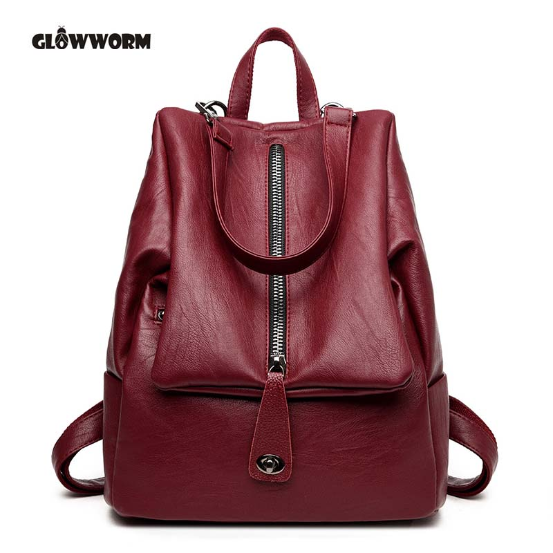 GLOWWORM brand fashion women genuine leather backpacks for girl high quality female shoulder bags teenage school bag new arrival<br>