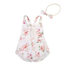 Buy Cute Toddler Kids Baby Girl Floral Clothes Summer Sleeveless Backless Cross Lace Tassel Romper Jumpsuit +Headband 2PCS Susuit for $4.30 in AliExpress store