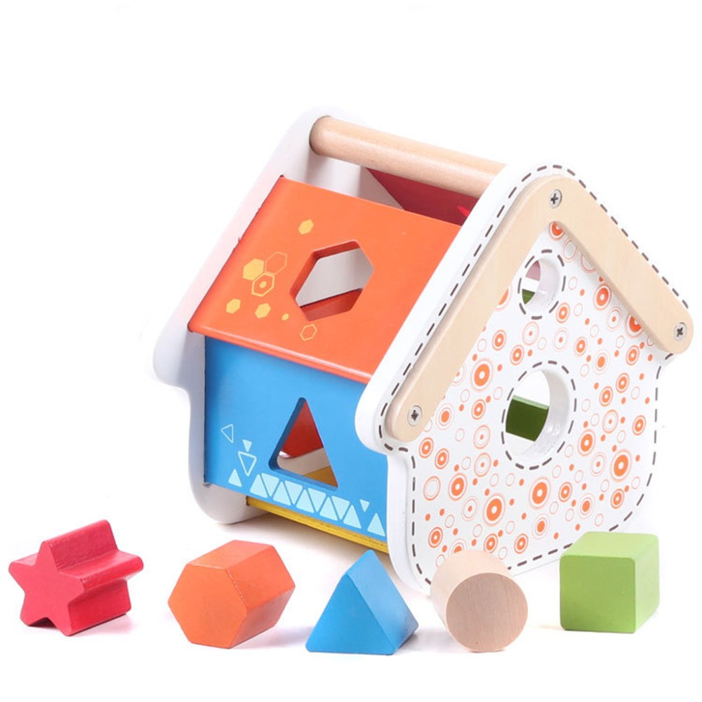 Beautiful Designed Wooden House The Geometric Shape Paired Early Educatation Toy<br><br>Aliexpress