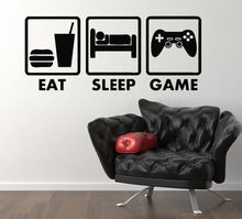 Eat Sleep Game Xbox Ps Wii fans Children's Bedroom Decal Wall Sticker home decoration