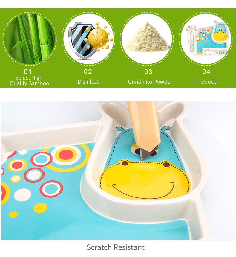 2017 Brand New Bamboo Tableware For Children Baby Feeding Set Plate Bowl Cup Fork Spoon Infant Dishes Baby Dinnereware Food Sets (12)
