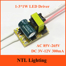 Freeship 1-3*1W None Dimmable LED Driver 1W 2W 3W lamp transformer 300mA bulb bulbs constant current power supply AC 85V-265V