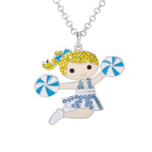 Skyrim Cute Gift Cheerleading Girl Enamel Pendant Necklace with Colorful Crystal Woman Jewelry