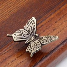 Antique Greenish Bronze Color Butterfly Knobs Drawer Dresser Handle Pull Kitchen Cabinet Knobs Pulls Handles(China)