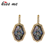 KISS ME Geometric Stone Drop Earrings New Brand India Jewelry Antique Gold Silver Color Women Earrings(China)