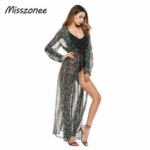 Buy Misszonee Swimsuit Cover 2017 Women Sexy Beach Cover-Ups Chiffon Long blouse print shirt Beach Cardigan Bathing Cover for $18.30 in AliExpress store