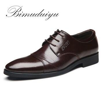 BIMUDUIYU de Marque Grande Taille 5.5-13 Printemps Été Hommes D'affaires Décontractée Chaussures De Base Plat Britannique De Mode De Mariage Robe noir Chaussures