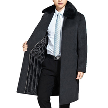 Mens Wool Coat Men Brand-Clothing Natural Rabbit Fur Collar Thick Woolen Overcoat Men New Long Mens Jackets And Coats WUJ1148