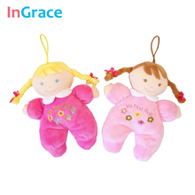 Ingrace fashion baby born doll 3 colors soft Rattle toy stuff and plush baby first doll for newborn baby girls gifts 20CM mini